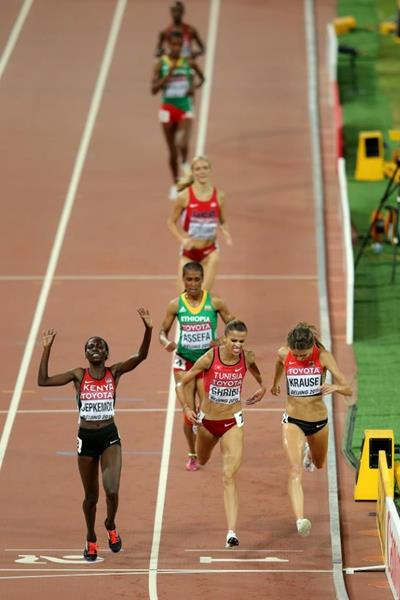 Demadonna's Habiba Ghribi of Tunisia takes silver medal in the women's 3000m steeplechase final in Beijing 2015