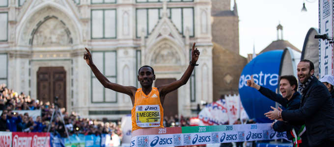Demadonna's Megersa, of Ethiopia, and Cherono, of Kenya take first in the men's and women's 2015 Florence Marathon respectively.