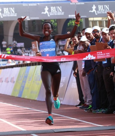 Kenya's and DAP's represented Jepchirchir Peres beats difficult conditions and conquers the victory at the Bangaluru 10k