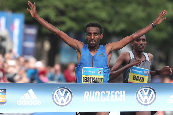 "Demadonna's Gebretsadik Abraha wins the Prague International Marathon in a time of 2h08'47"" to lead an Ethiopian sweep"